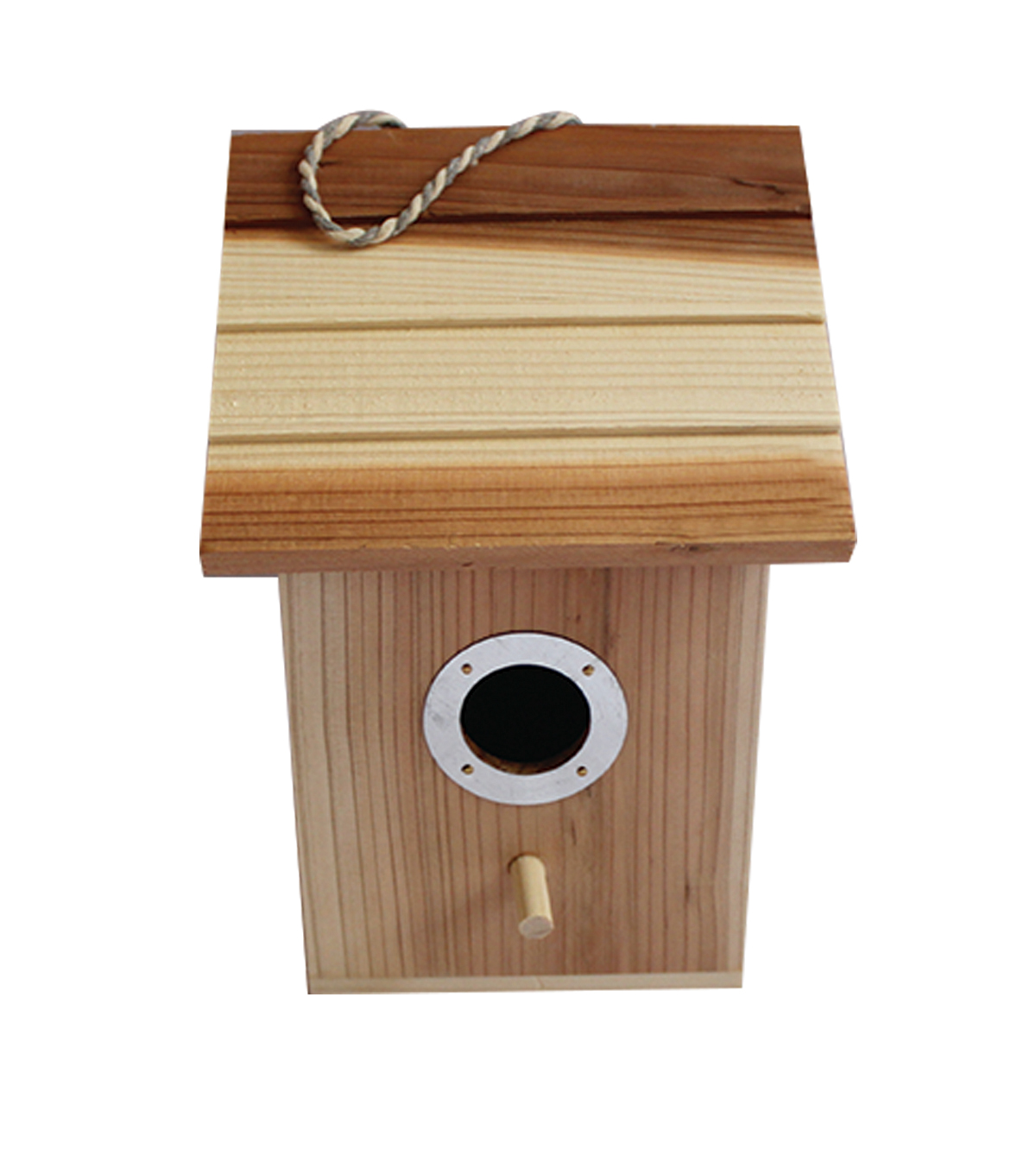 Unfinished Wood Birdhouse with Metal