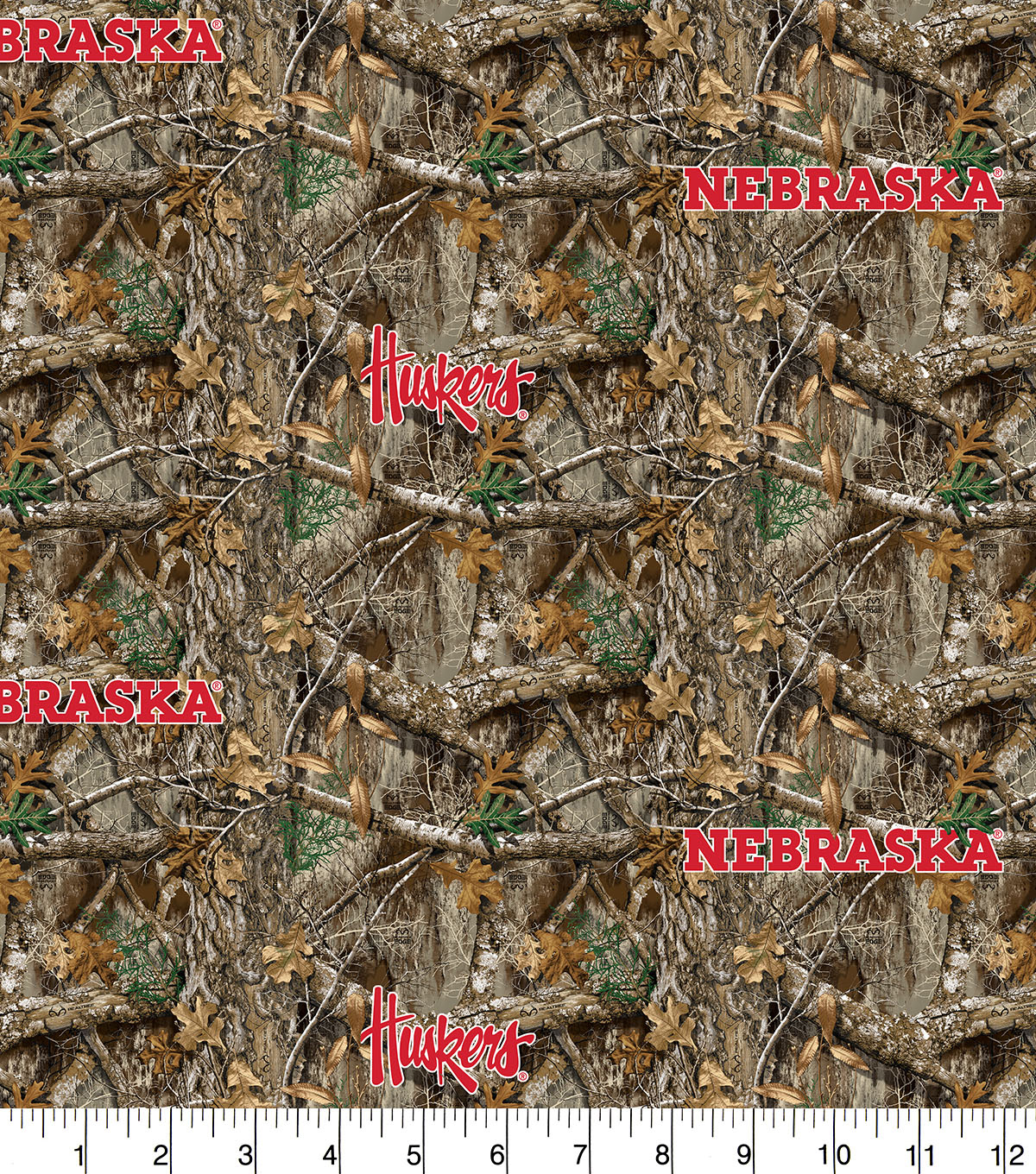 Nebraska Collegiate Realtree Cotton Fabric 42\u0022-Camo & Logo