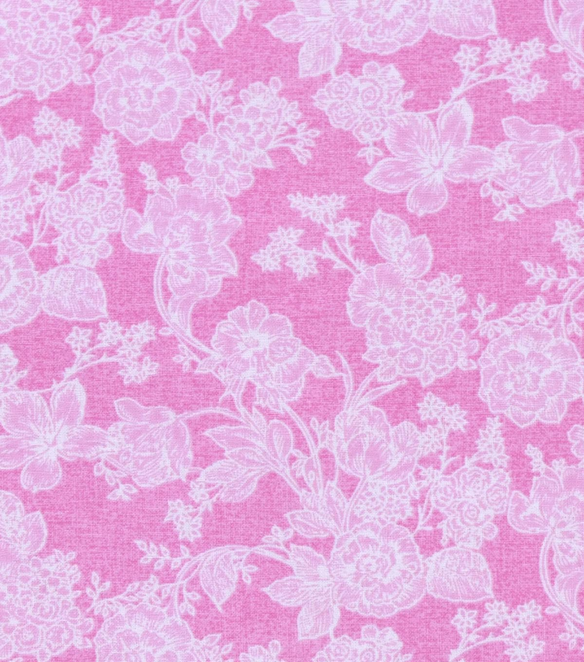 Nursery Flannel Fabric -White Floral