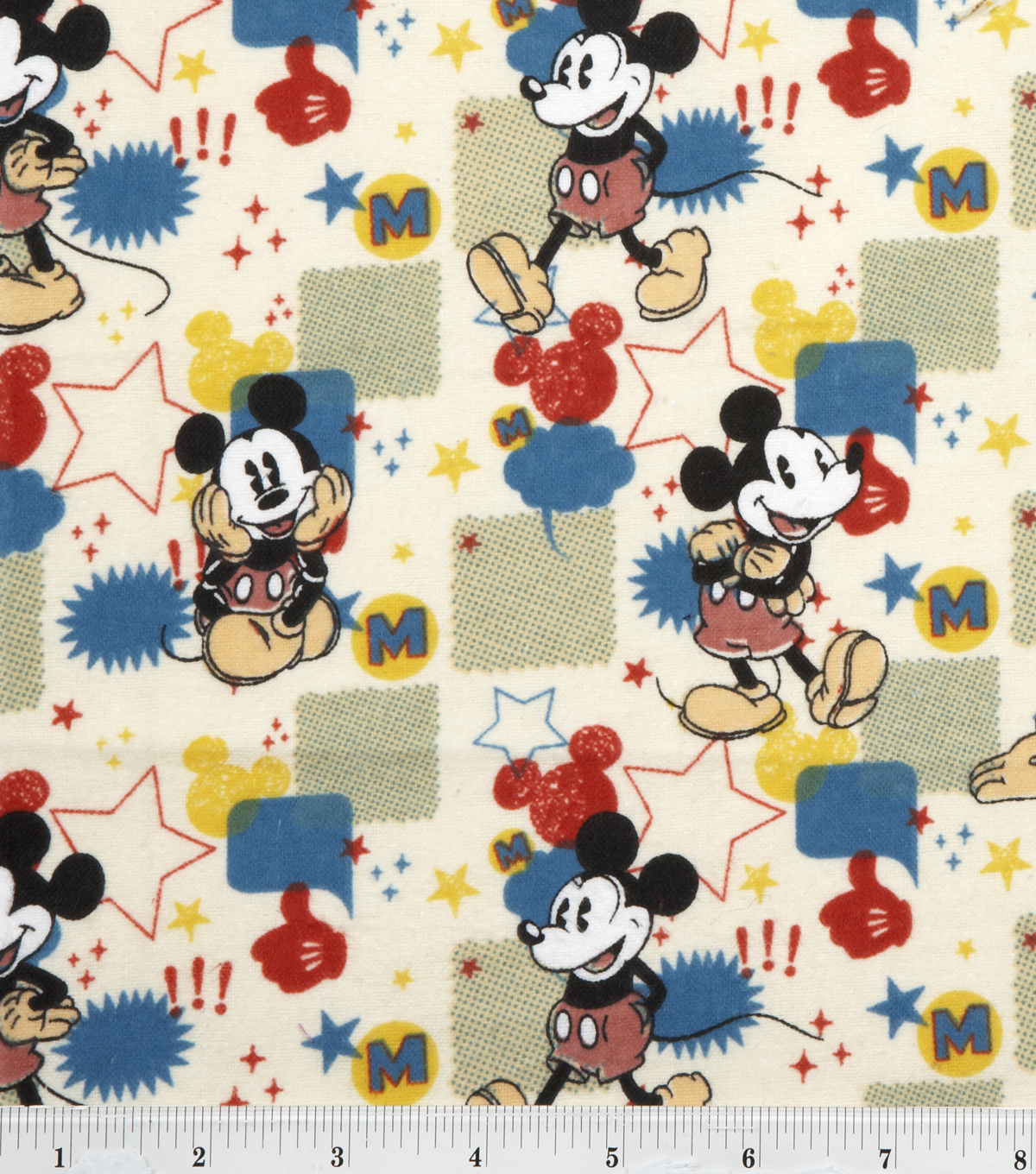 Disney Mickey Flannel Fabric 43\u0027\u0027-Comic Burst