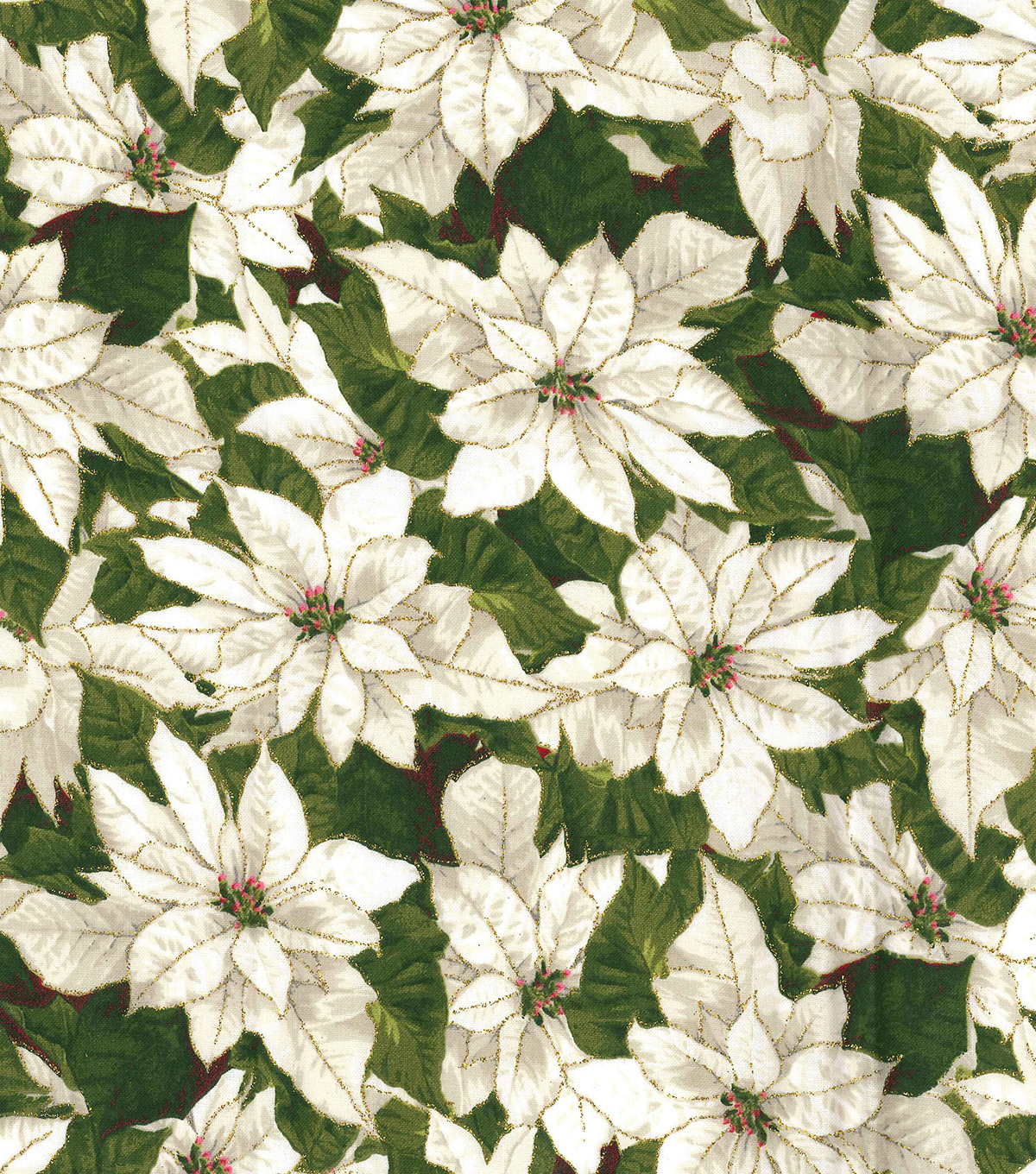 Christmas Cotton Fabric 44\u0022-Packed Poinsettias