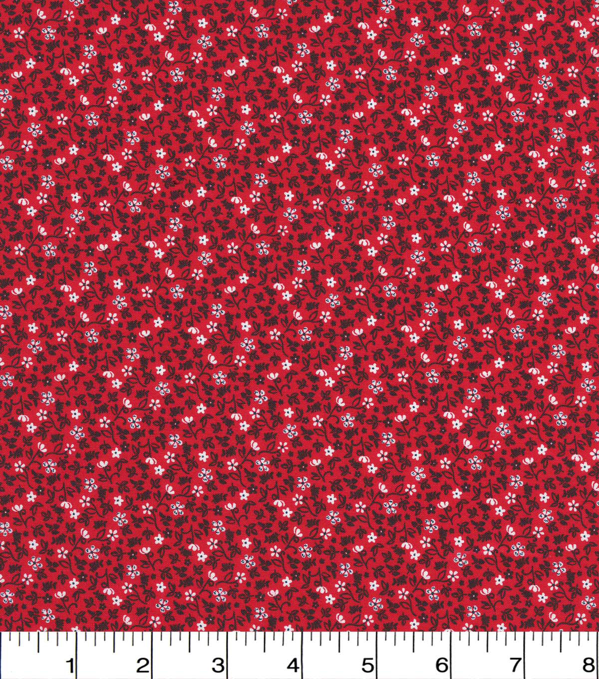 Quilter\u0027s Showcase Cotton Fabric 44\u0022-Red Navy Ditsy Floral