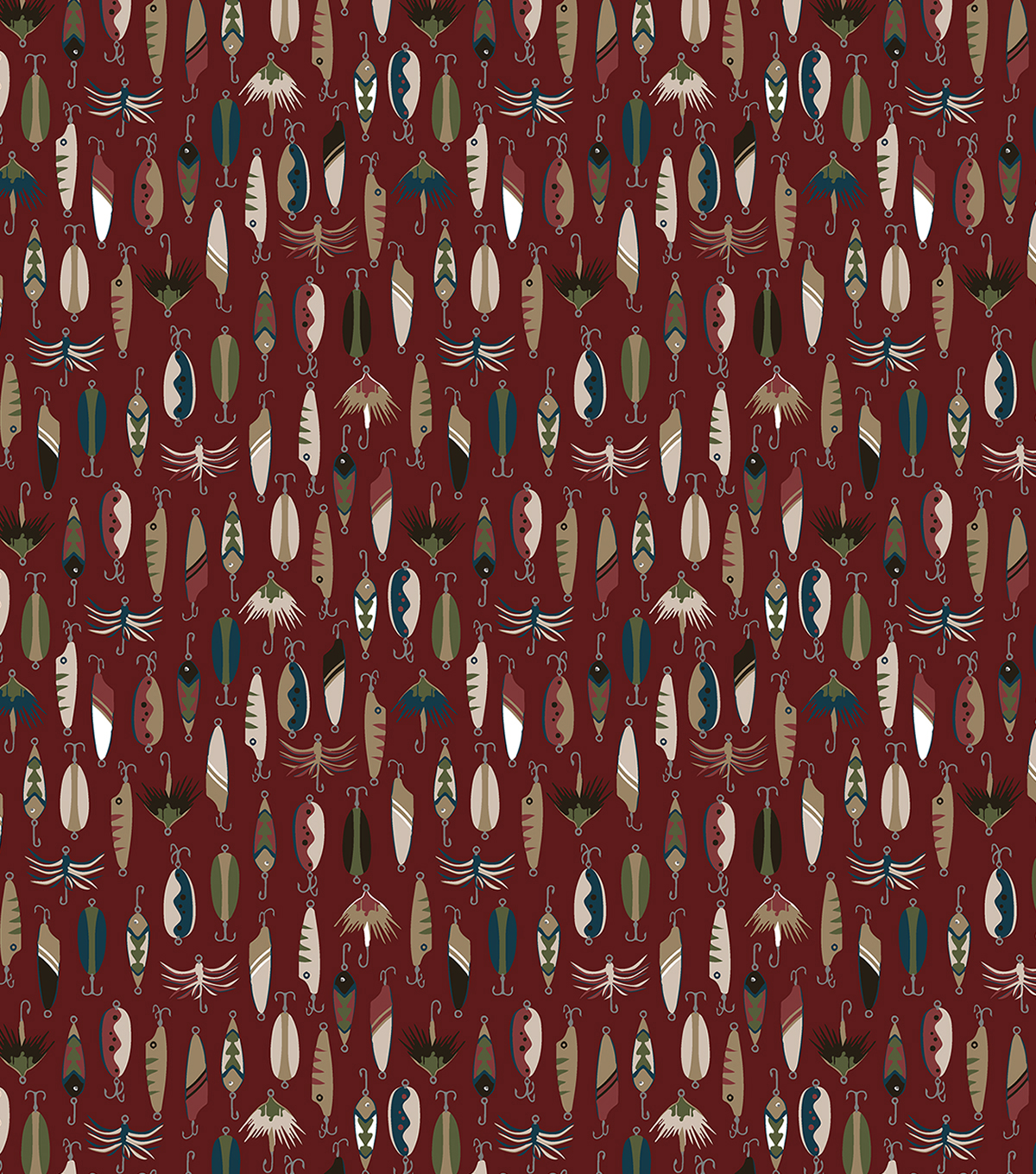 Super Snuggle Flannel Fabric-Fishing Hook On Red