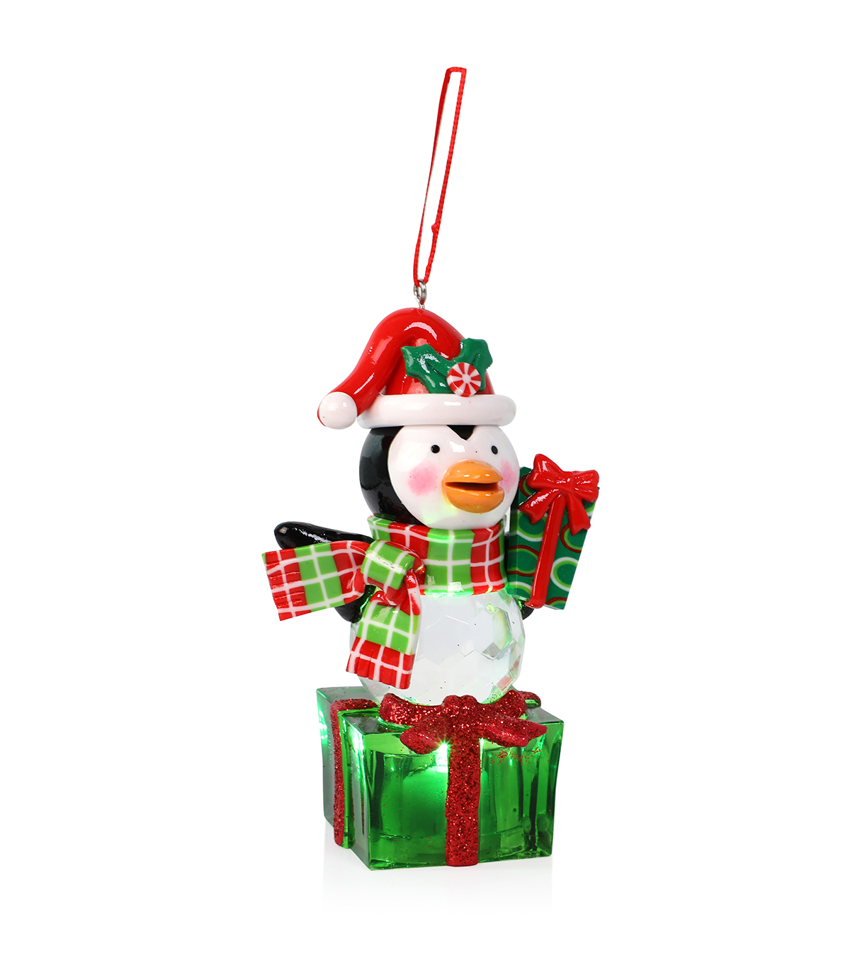 Maker\u0027s Holiday Christmas LED Penguin with Present Ornament
