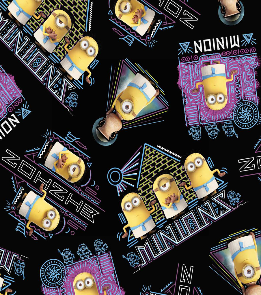 Minions Egyptian Cotton Fabric 44\u0027\u0027-Black