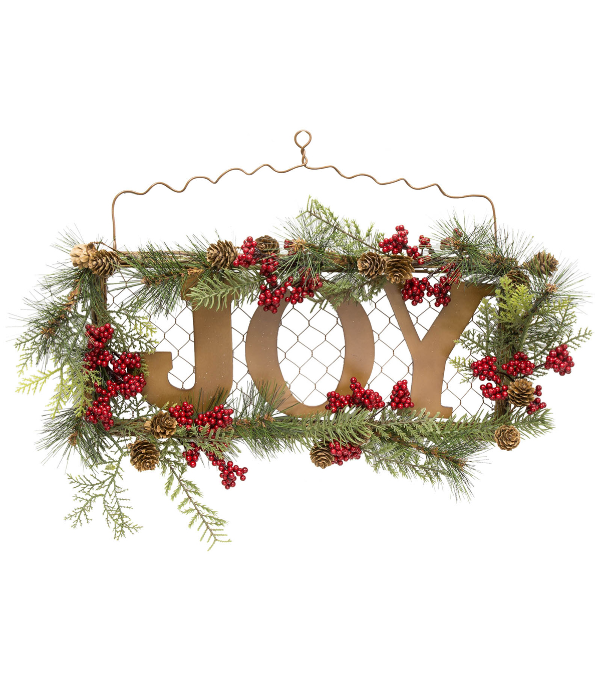 Blooming Holiday Pine & Berry on Chicken Wire Wall Decor with Joy Sign