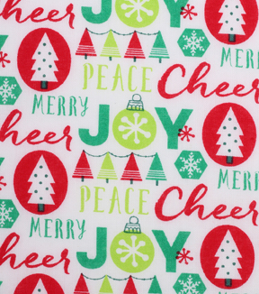 Christmas Cotton Fabric 43\u0027\u0027-Words on White