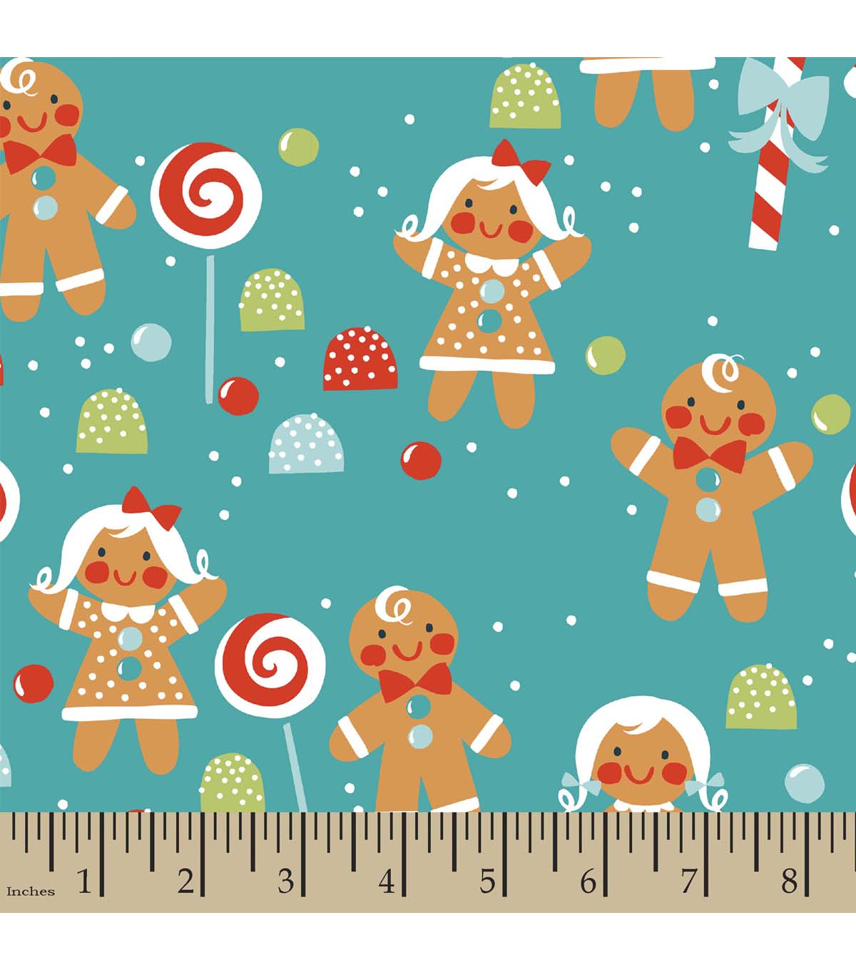 Christmas Print Fabric-Gingerbread Friends and Sweets