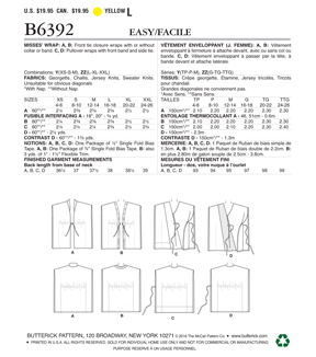 Butterick Pattern B6392 Misses\u0027 Banded or Collared Wraps-Size 16-26