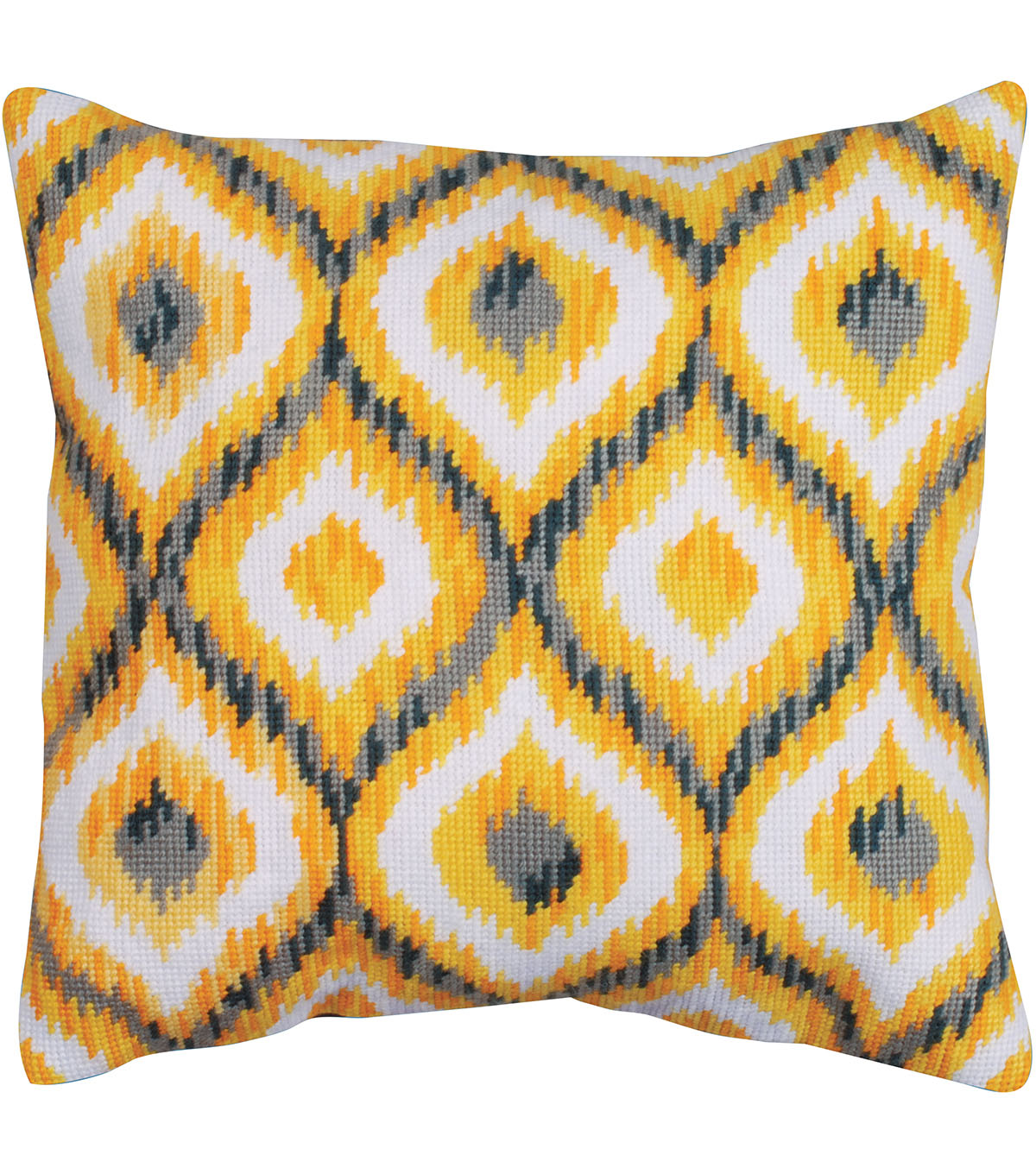 Design Works Neeedlepoint Kit 12\u0022X12\u0022-Yellow Ikat-Stitched In Yarn