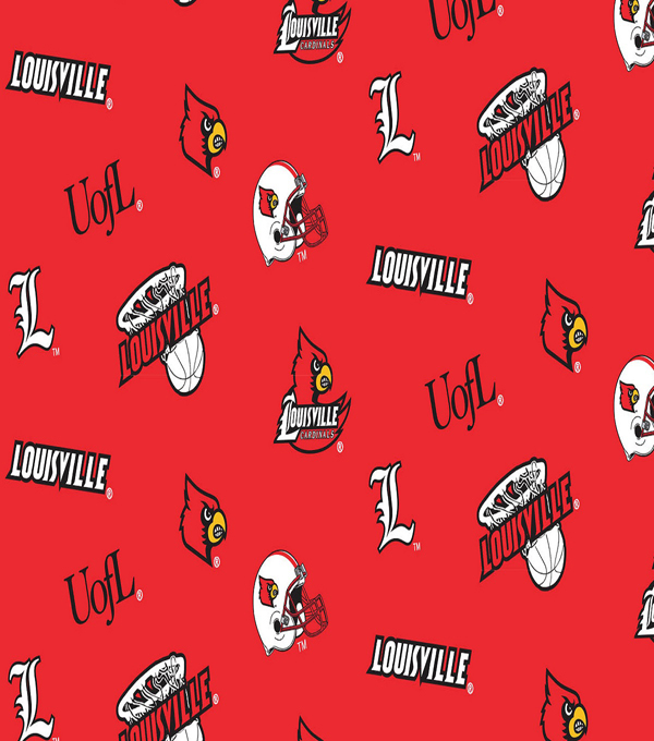 University of Louisville Cardinals Cotton Fabric -Red All Over