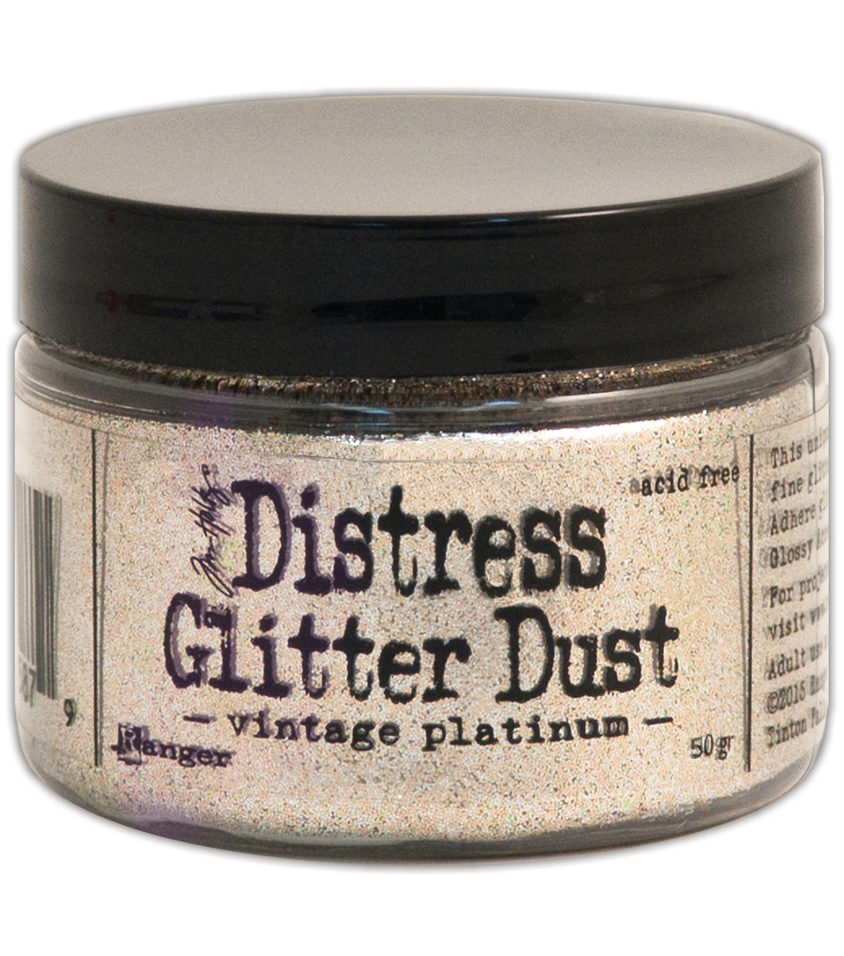 Tim Holtz Distress Glitter Dust .50g-Vintage Platinum