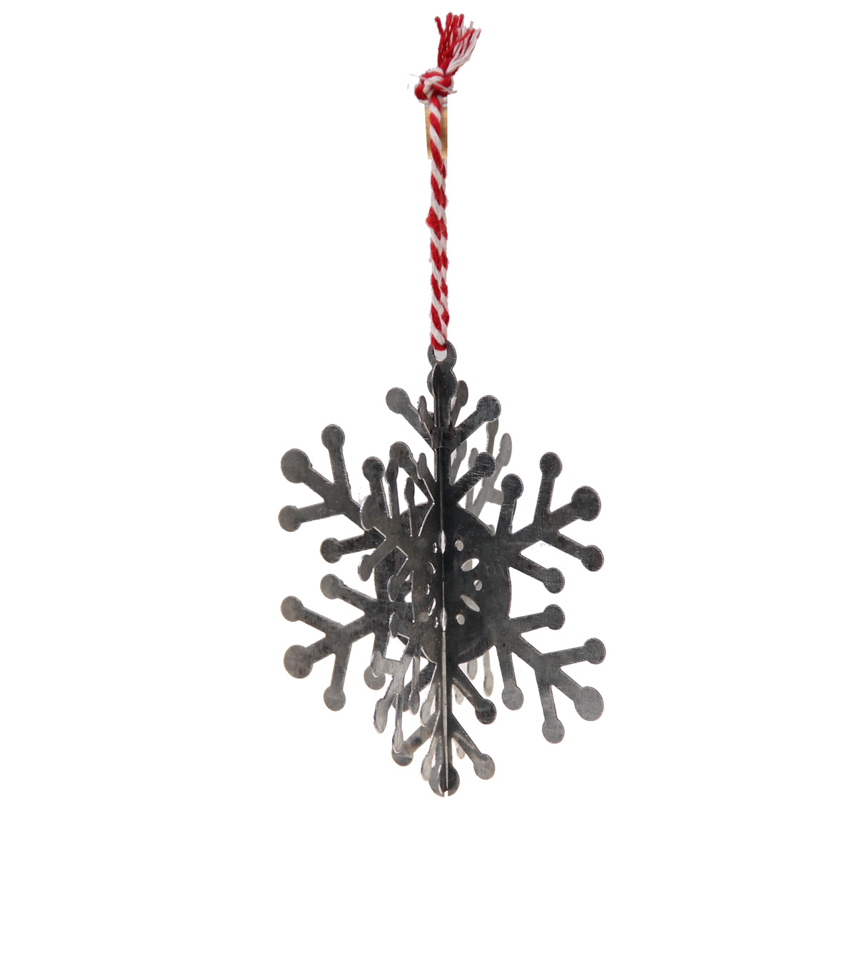 Handmade Holiday Craft Metal 3D Snowflake Ornament with Circle Center