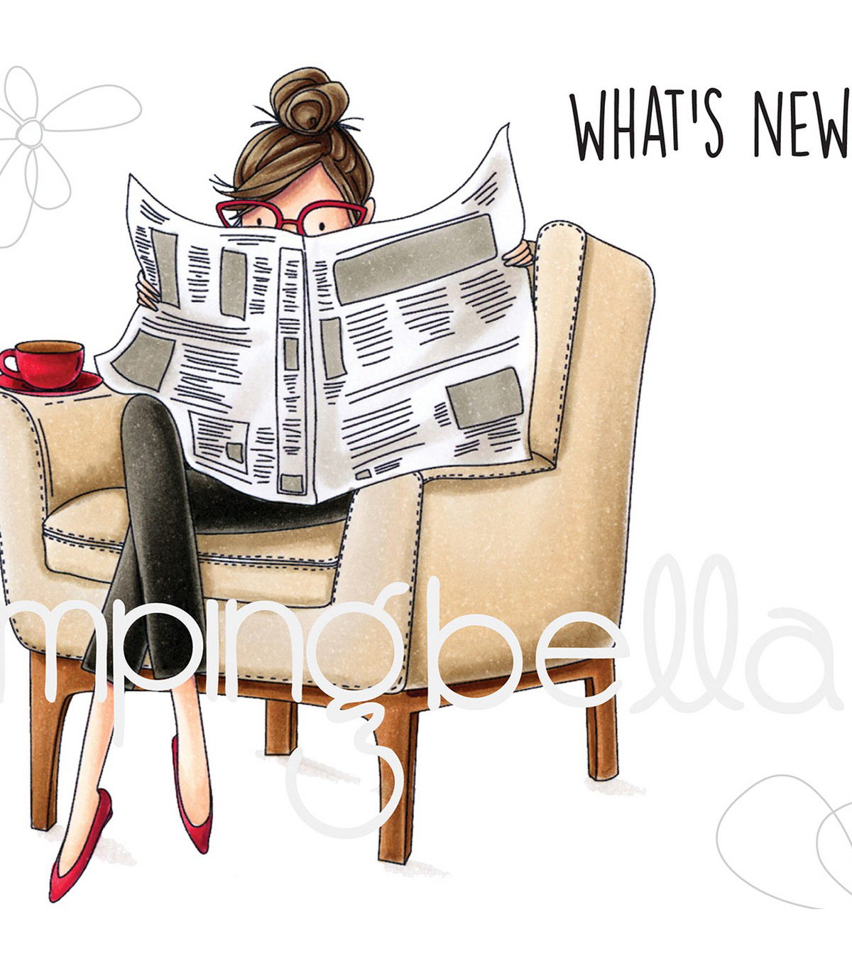 Stamping Bella Rubber Cling Stamps-Uptown Girl Nancy Reads the Newspaper