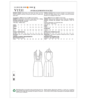 Vogue Pattern V1531 Misses\u0027 Cowl-Neck, Open-Back Dress-Size 12-20