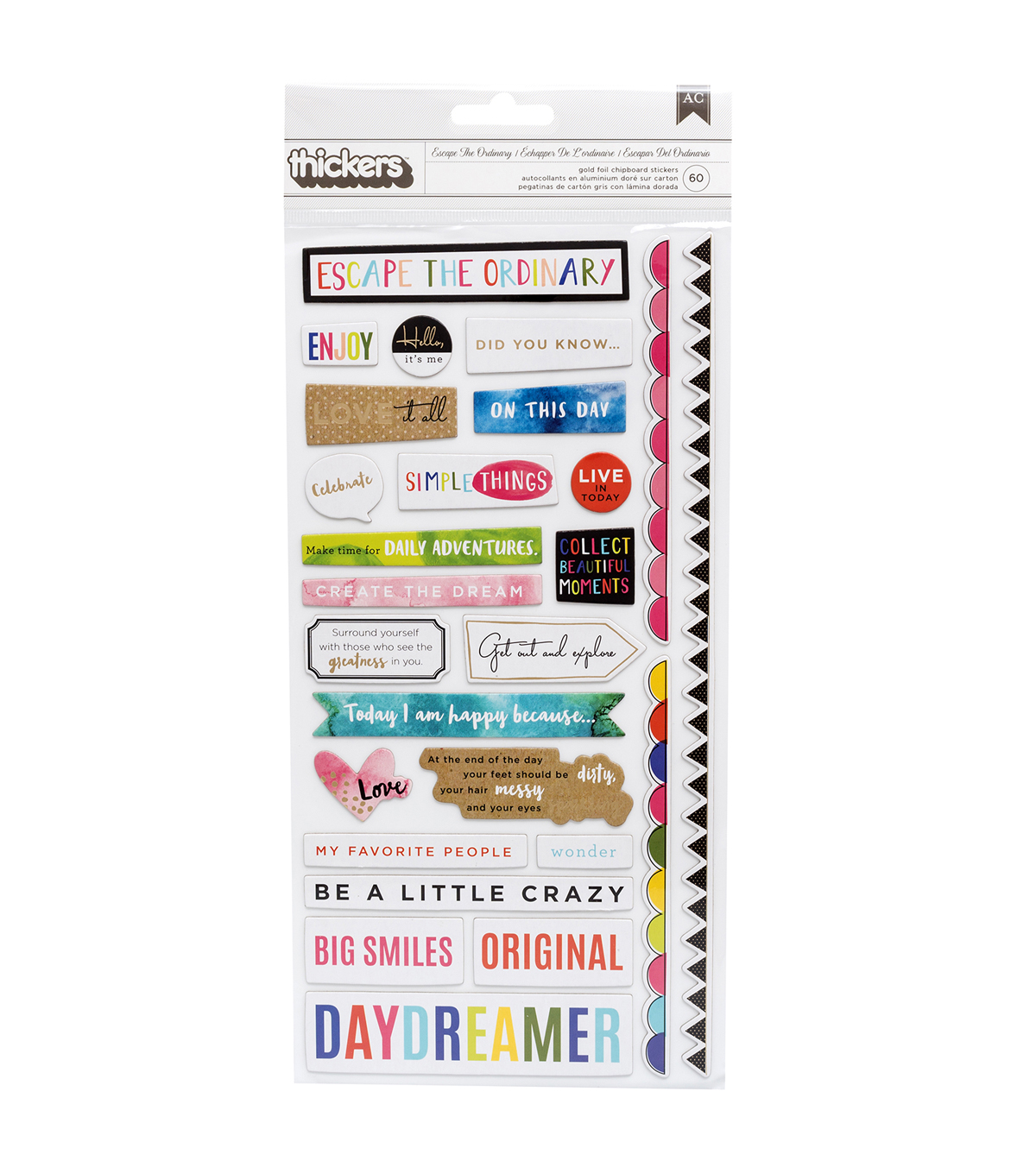 American Crafts Thicker Stickers-Field Notes Phrases