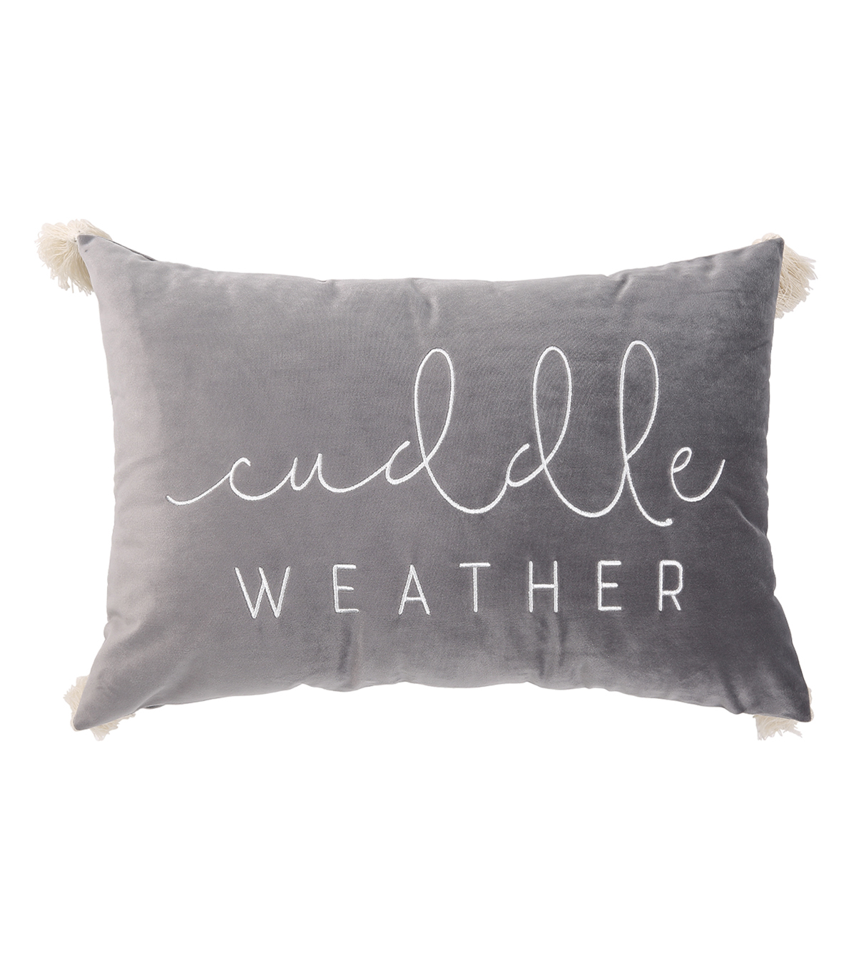 Simply Autumn Lumbar Pillow-Cuddle Weather on Gray