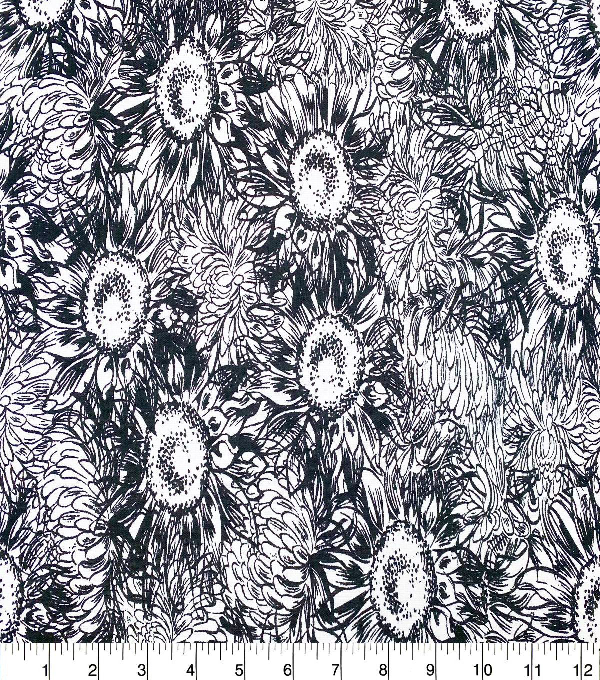 Quilter\u0027s Showcase Cotton Fabric-Black Sketched Sunflowers