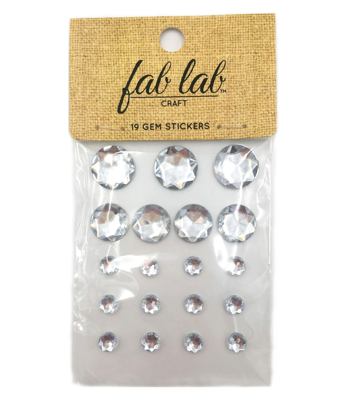 Adhesive Jewels Clear Round Crystals, 19pc.