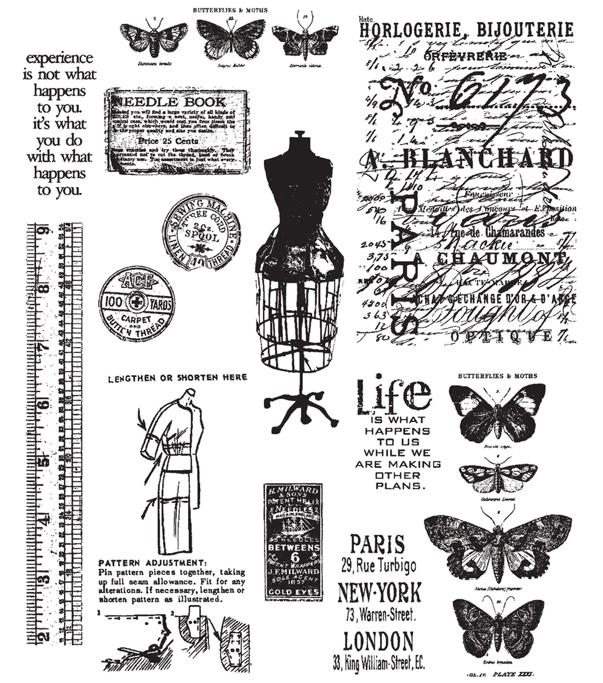 Tim Holtz Large Cling Rubber Stamp Set-Attic Treasures