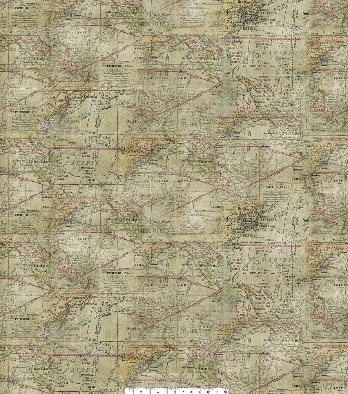 Novelty Cotton Fabric 45\u0022-Map Expeditions