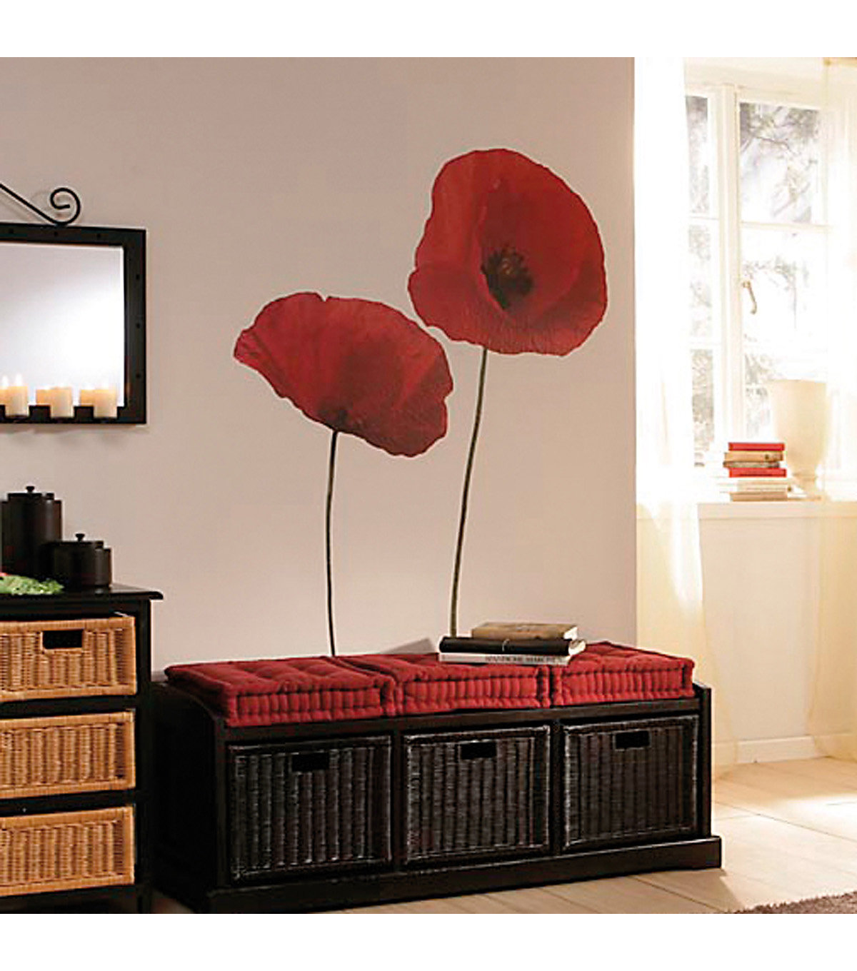 Home Decor Poppies Wall Decal, 4 Piece Set