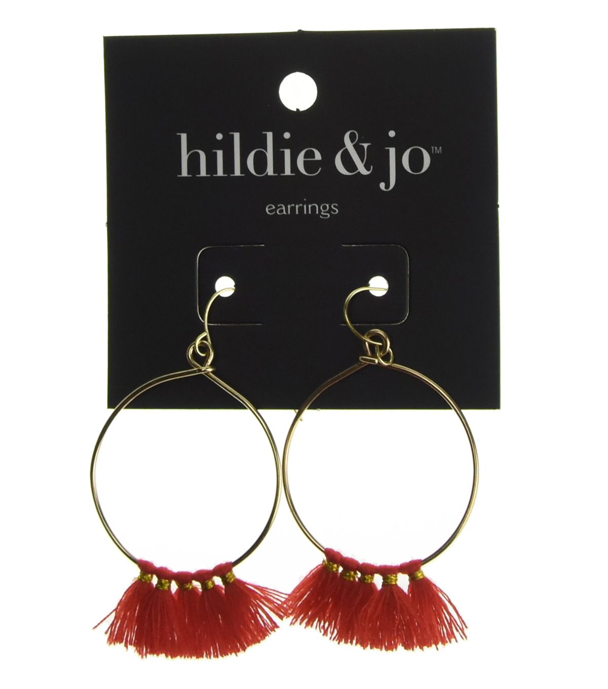 hildie & jo Hoop Earrings-Gold with Red Tassels