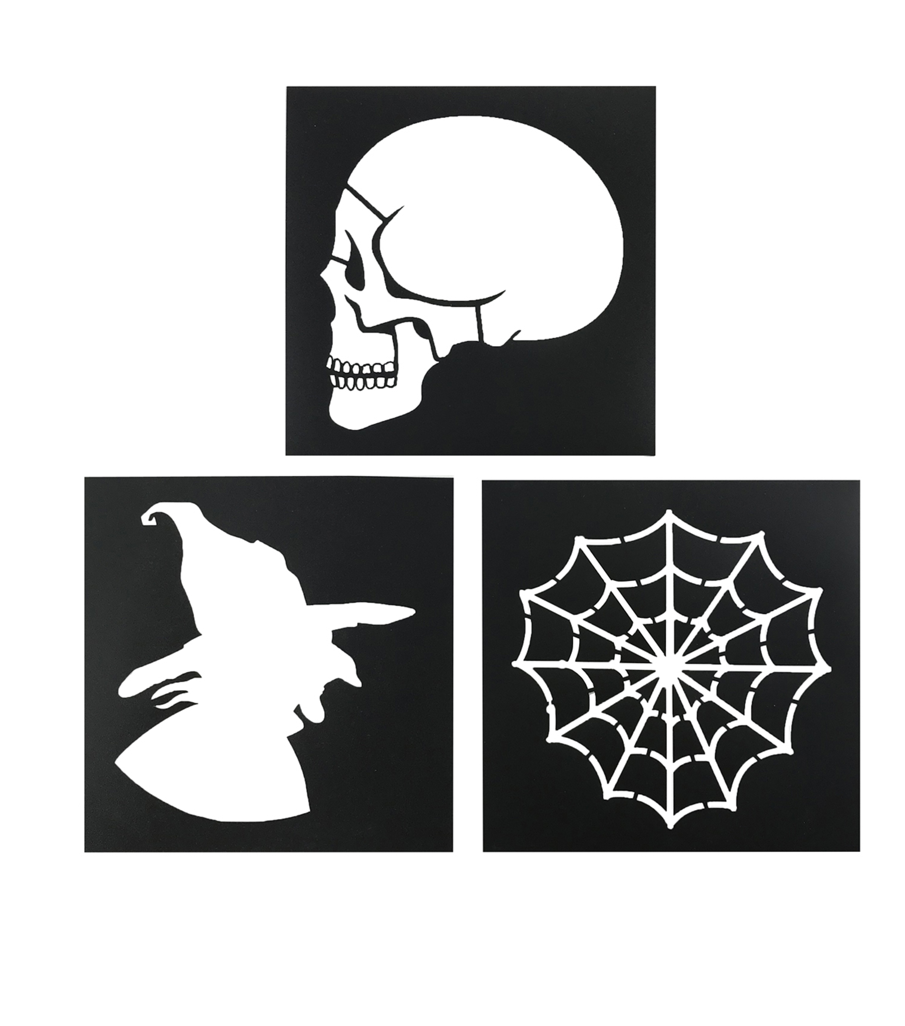 Maker\u0027s Halloween Stencil 3/Pkg-Skull, Web, Witch