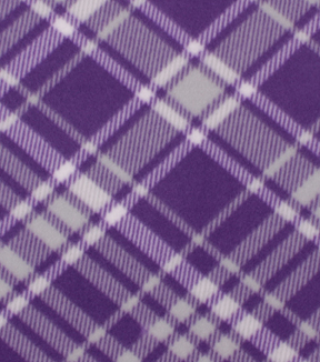 Blizzard Fleece Fabric-Kate Purple & White Plaid