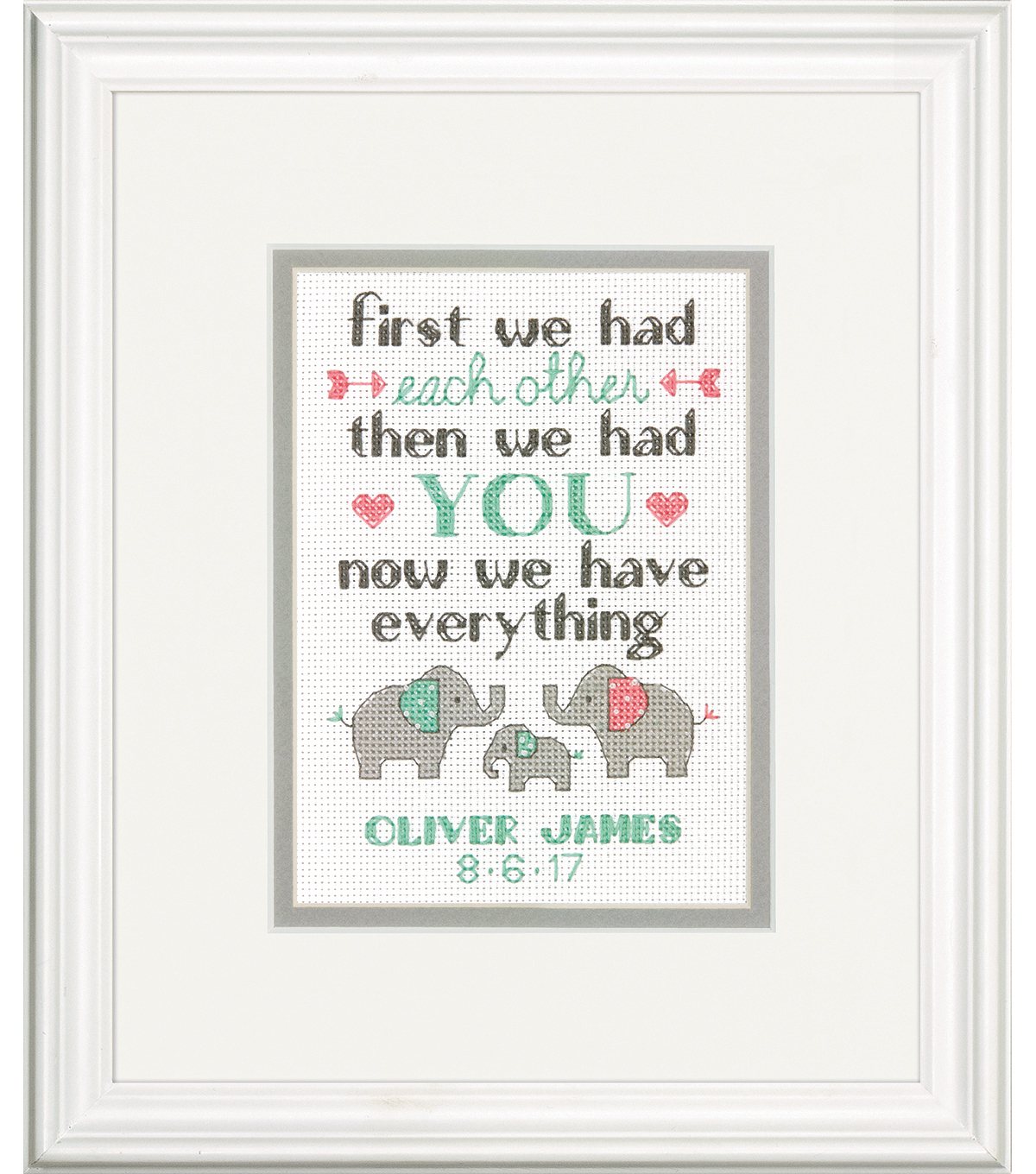 Dimensions 5\u0027\u0027x7\u0027\u0027 Custom Birth Record Cross Stitch Kit-Family