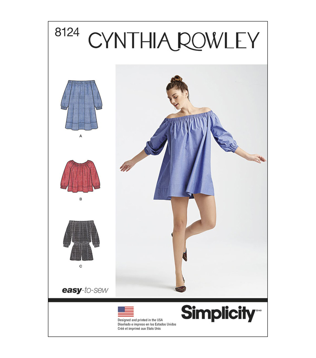 Simplicity Pattern 8124 Misses\u0027 Romper Dress & Top-Size A (XS-S-M-L-XL)