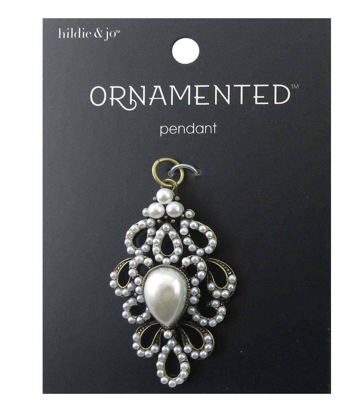 hildie & jo Ornamented 1.88\u0027\u0027x0.63\u0027\u0027 Antique Gold Pendant-Pearls