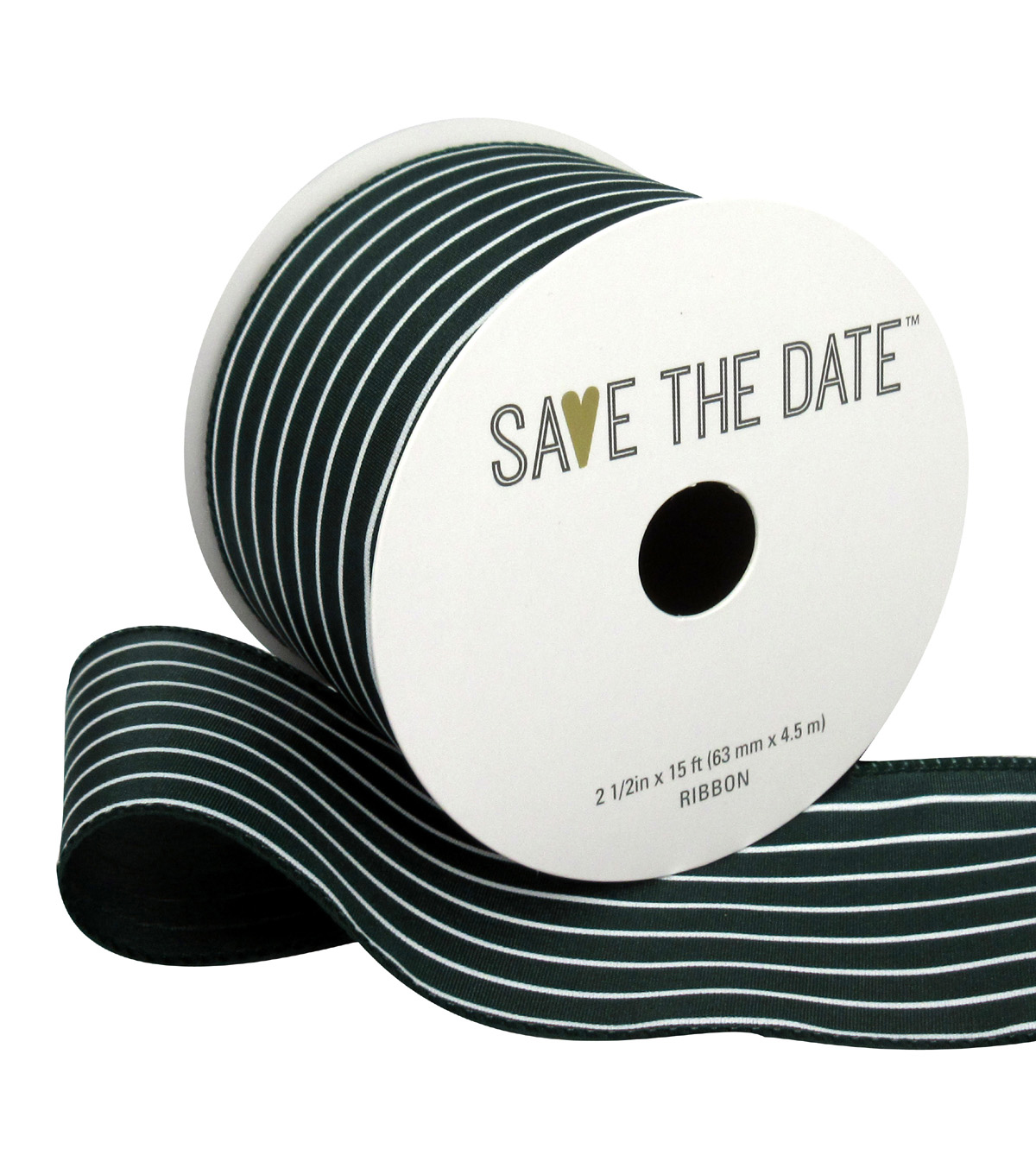 Save the Date 2.5\u0022 x 15ft Ribbon-Hunter White Stripe