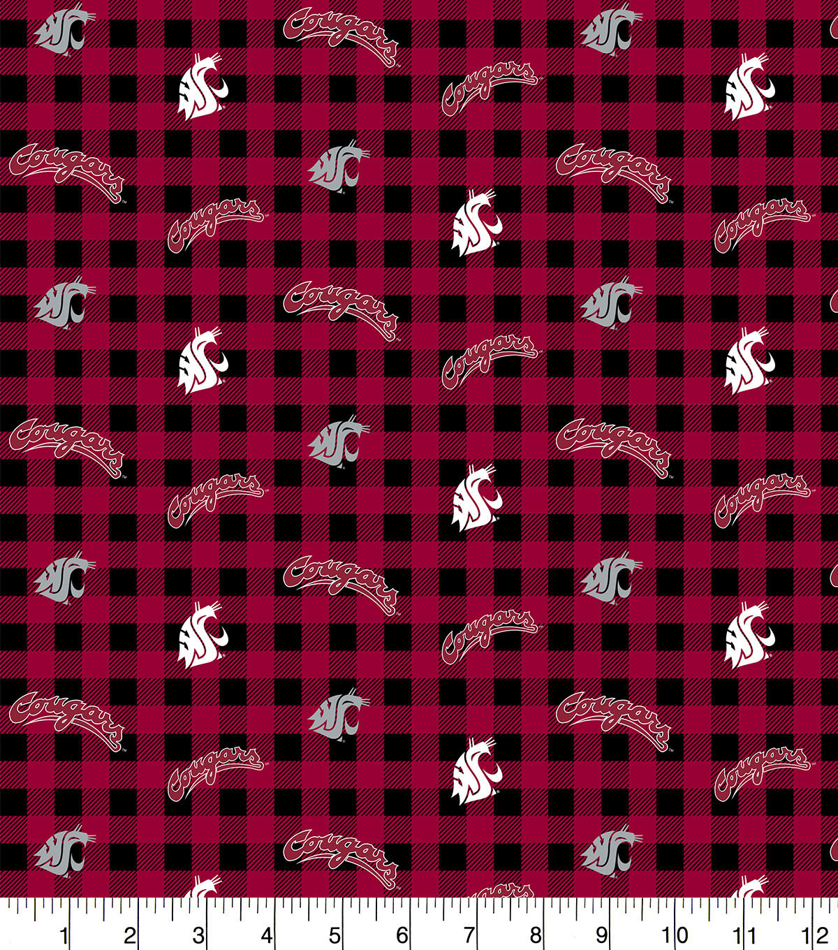 Washington State Cougars Flannel Fabric-Check
