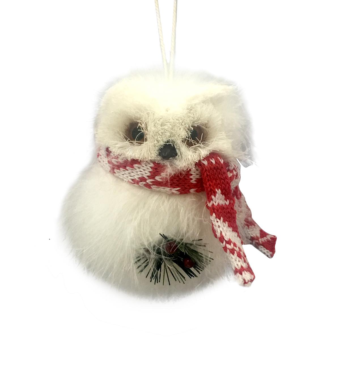 makeru0027s holiday christmas furry feather owl ornament - Christmas Furry