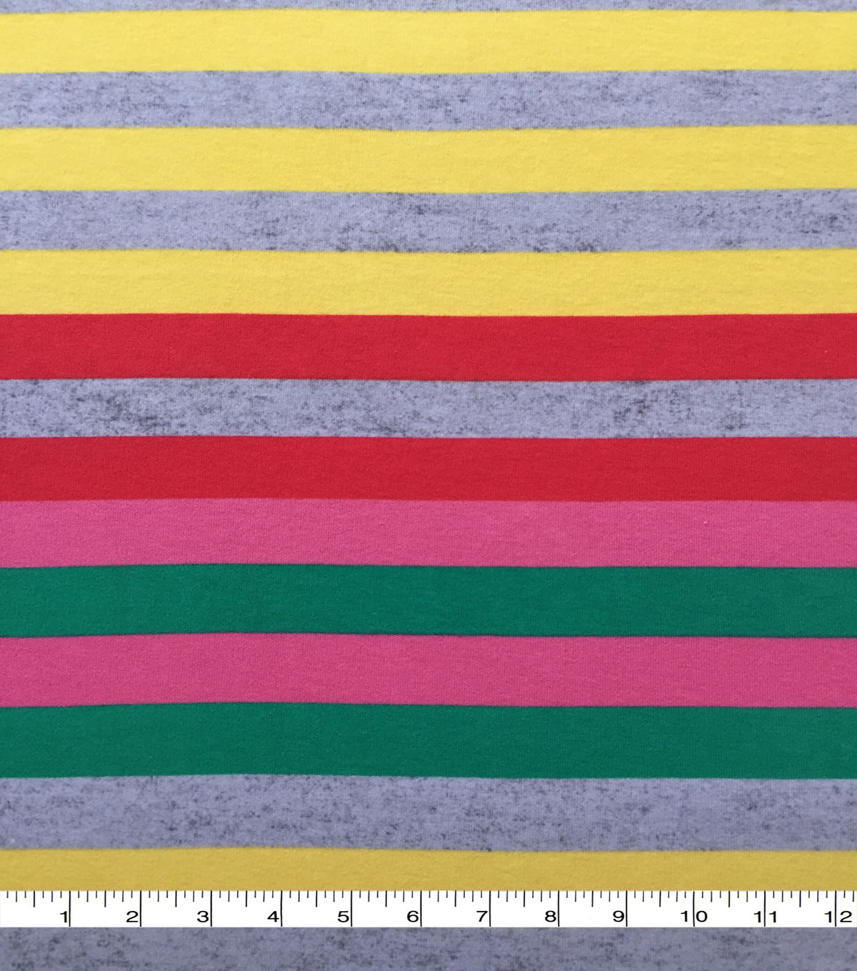 Doodles Cotton Fabric-Pink Green Yellow Multi Wide Stripe