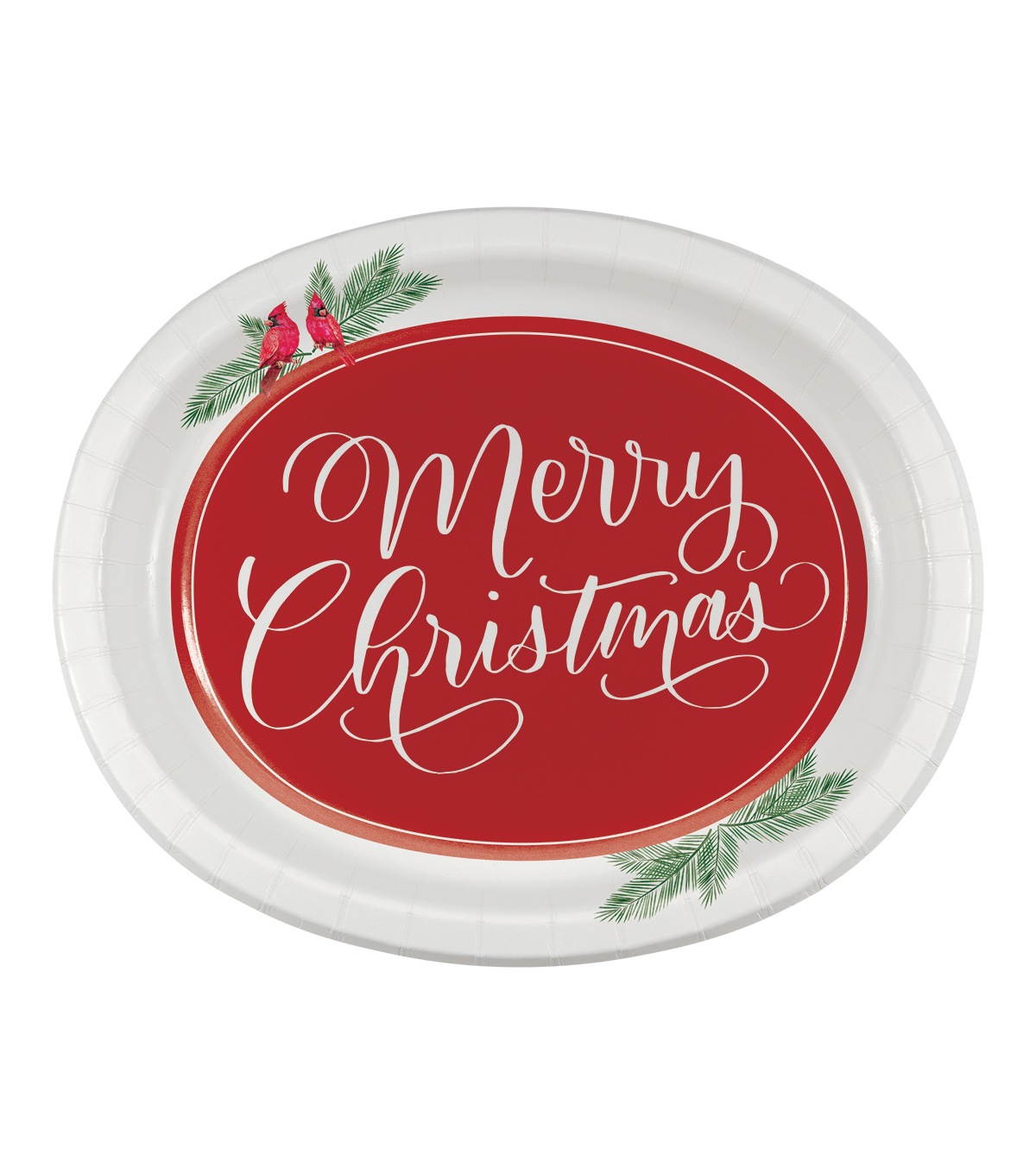 Maker\u0027s Holiday Christmas 8 pk 10\u0027\u0027x12\u0027\u0027 Oval Plates-Cardinal Wishes