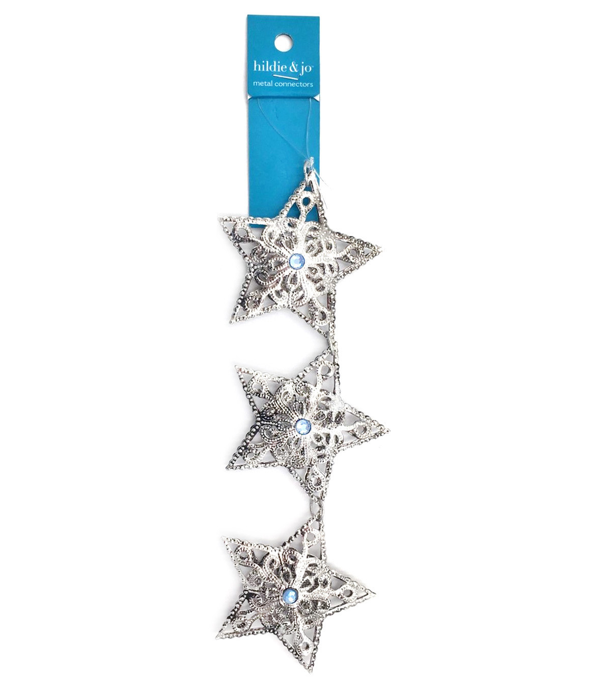Blue Moon Strung Filigree Connectors,Star,Silver w/Light Blue Crystal