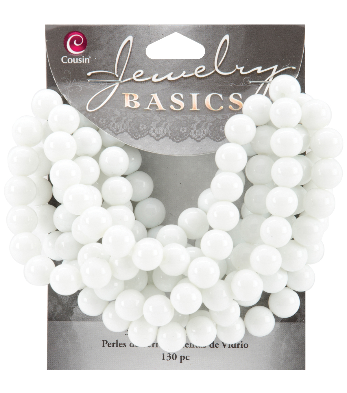 Jewelry Basics Opaque Round Glass Beads 8mm 130/Pkg-White