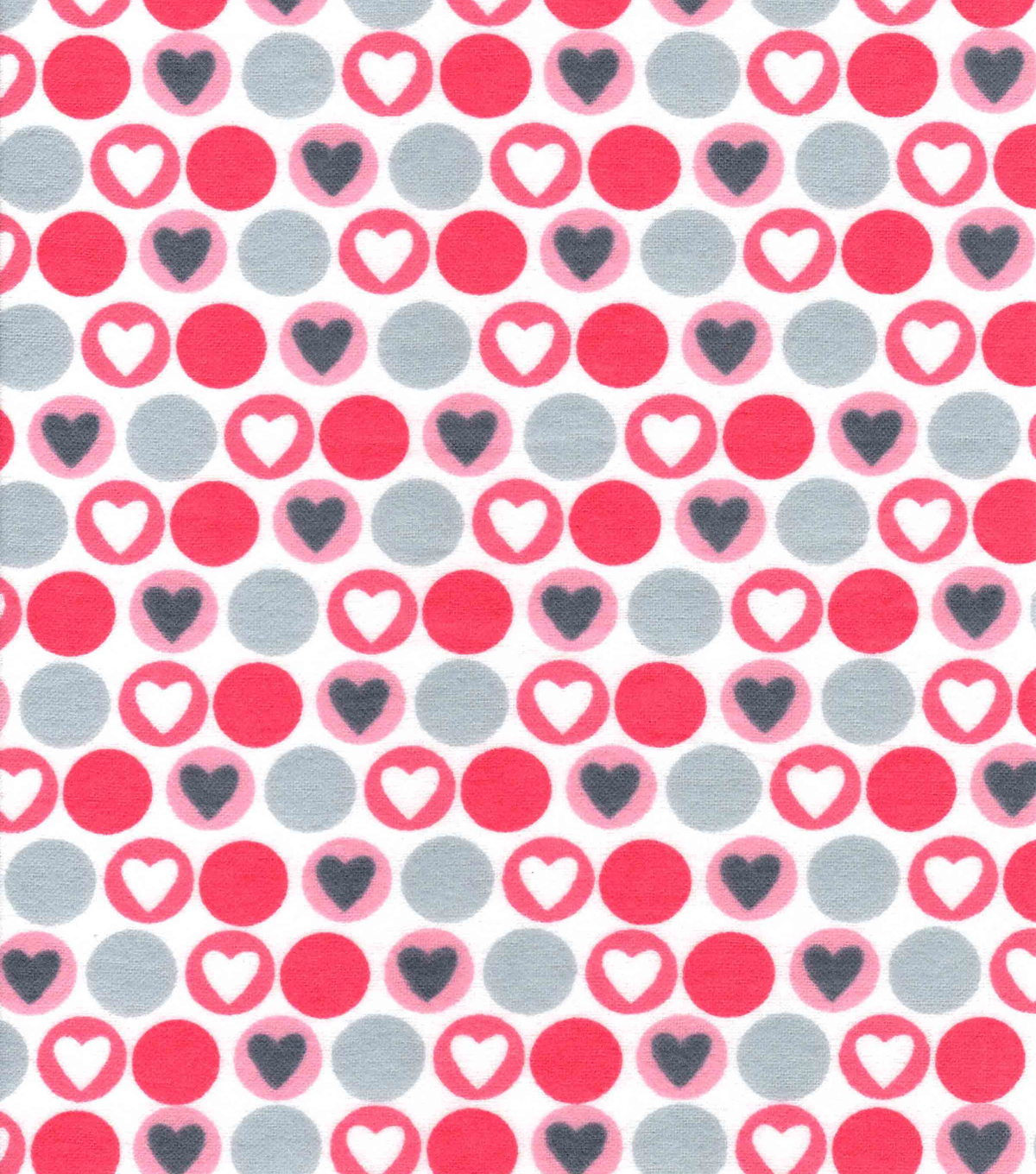 Snuggle Flannel Fabric -Coral Hearts & Dots