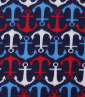 Blizzard Fleece Fabric -Patriotic Anchors