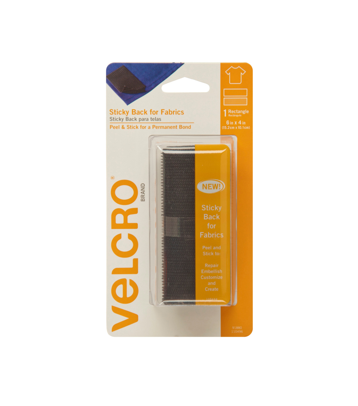 VELCRO Brand Sticky Back for Fabrics 24in x 3/4in Tape, Black