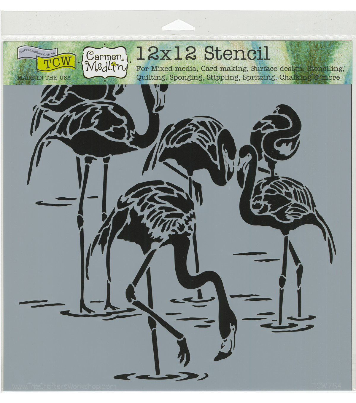 The Crafter\u0027s Workshop Carmen Medlin 12\u0027\u0027x12\u0027\u0027 Stencil-Flamingos
