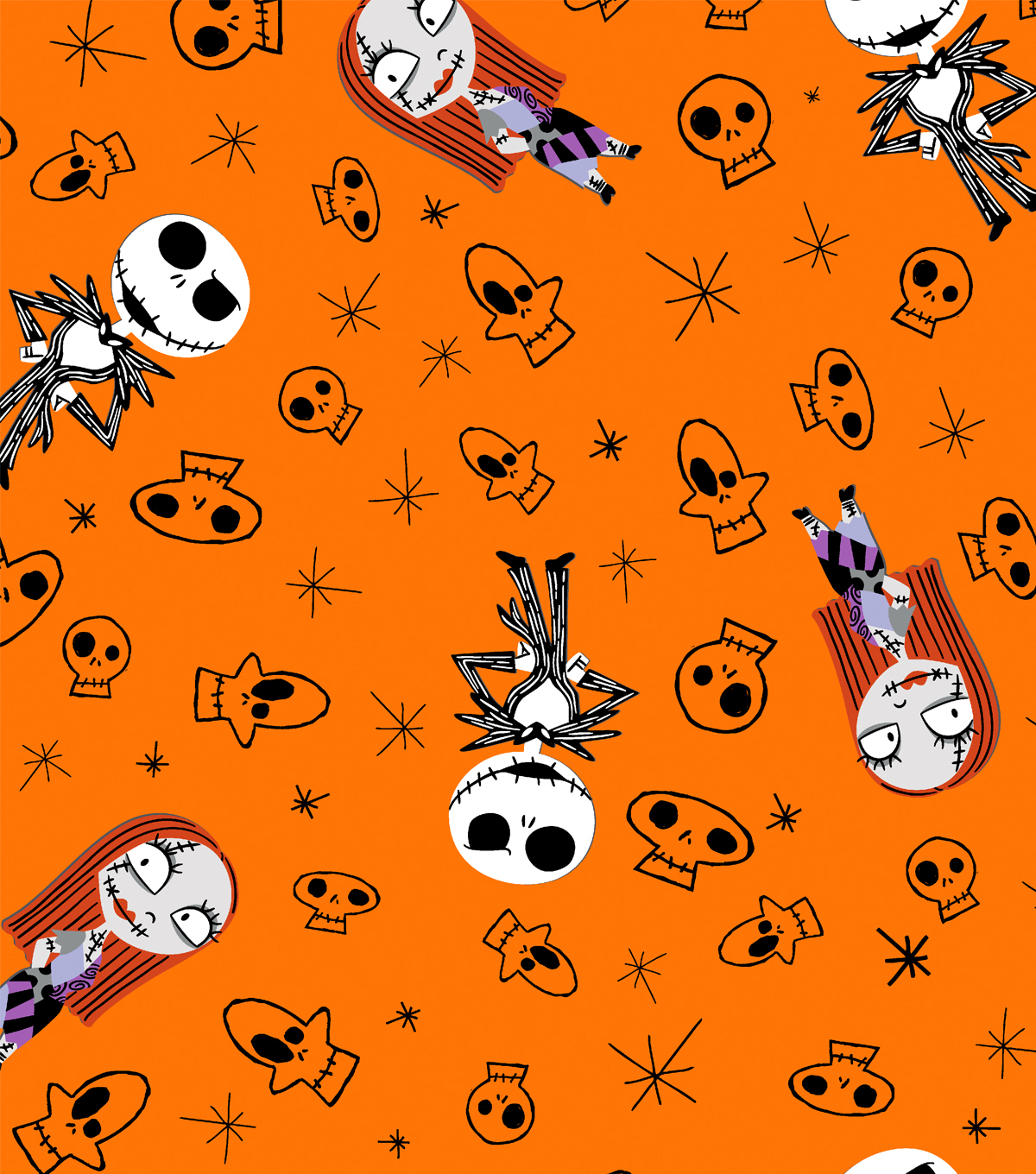 nightmare before christmas halloween flannel fabric 42u0022 skulls