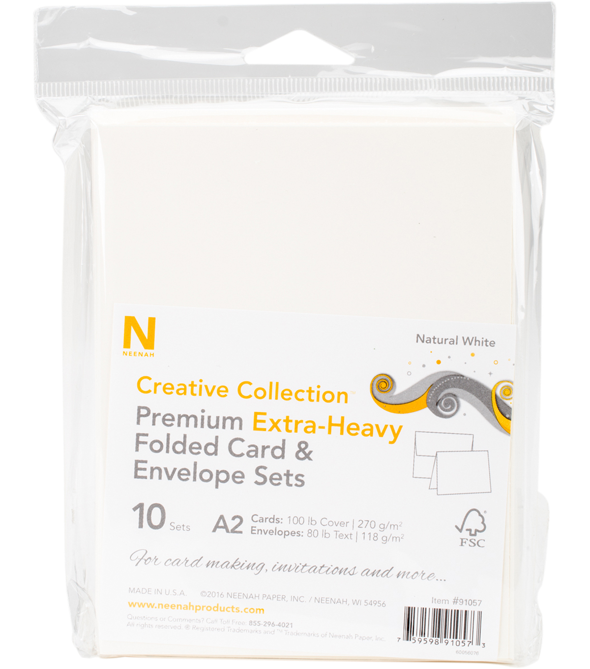 Neenah Premium Extra-Heavy Folded Card & Envelope Set-Natural White