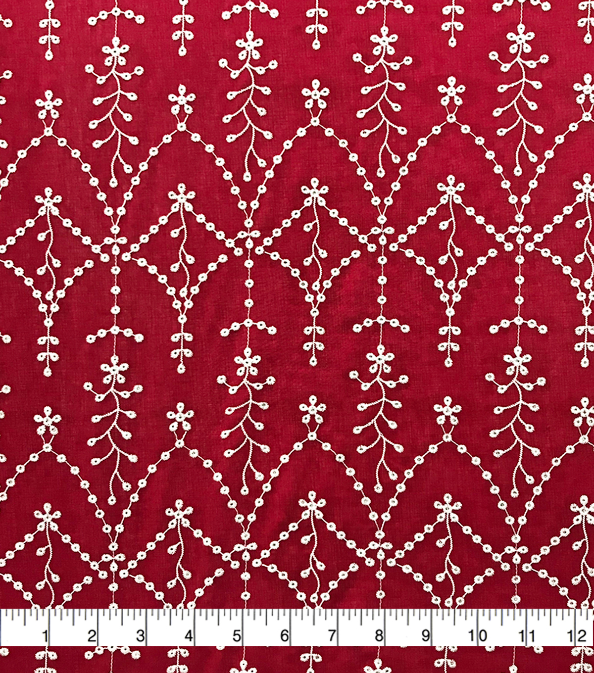 Specialty Cotton 2-Color Embroidered Scallop Cotton Fabric-Red White