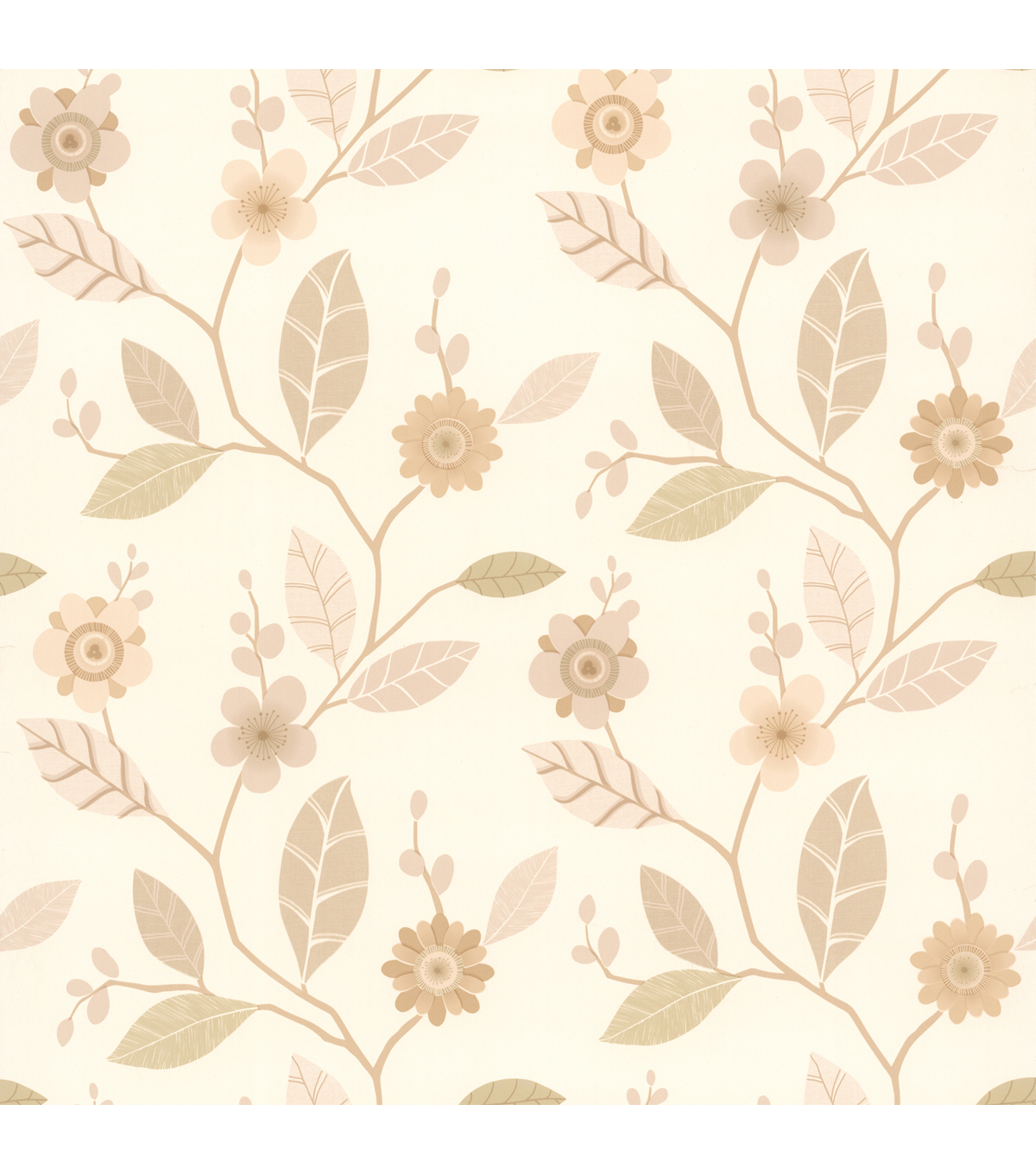 Claudia Beige Retro Blossom  Wallpaper Sample