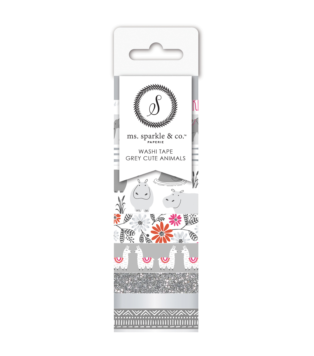 Ms. Sparkle & Co. 9 pk Washi Tapes-Gray Cute Animals