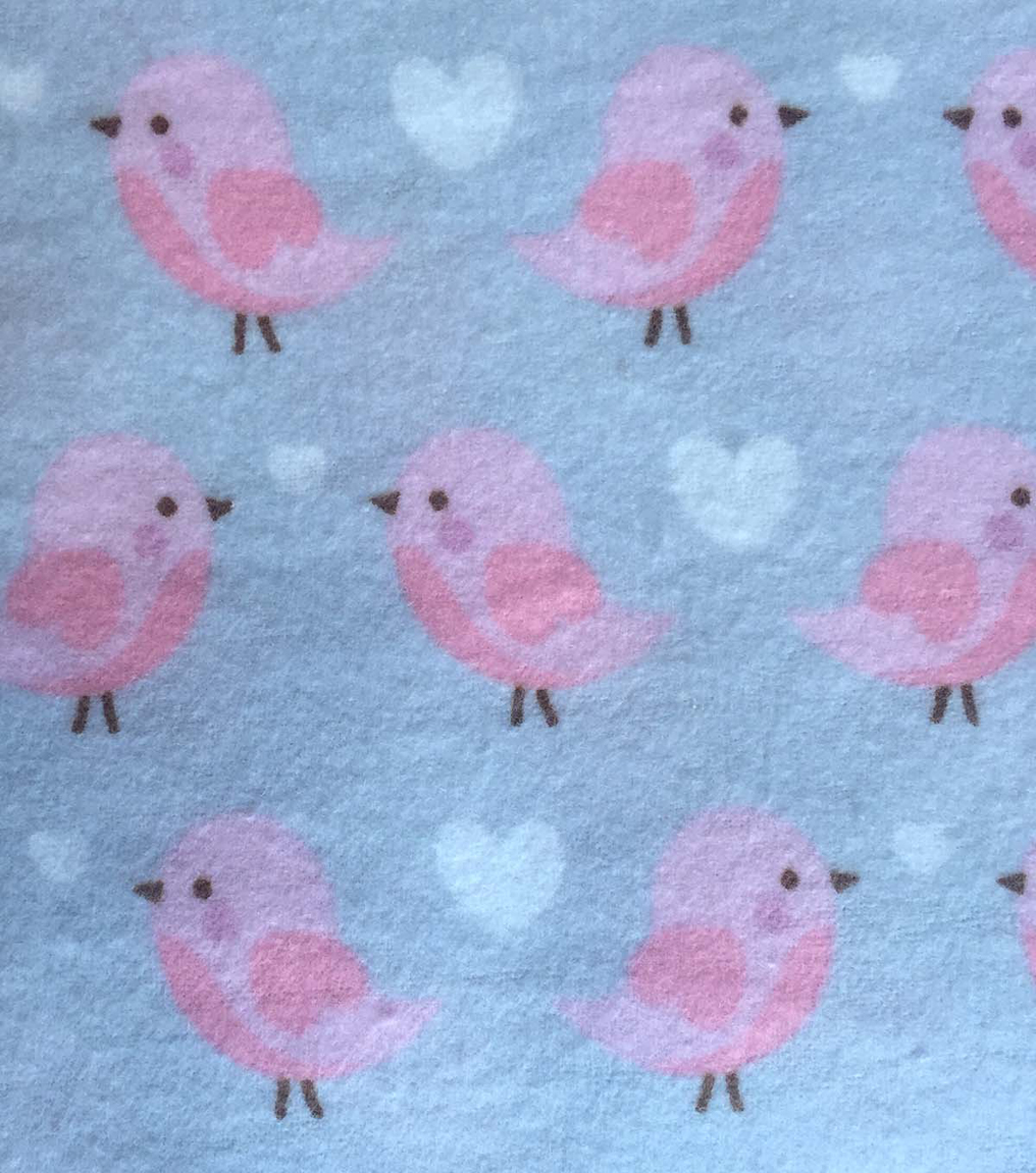 Snuggle Flannel Fabric -Baby Bird Pink