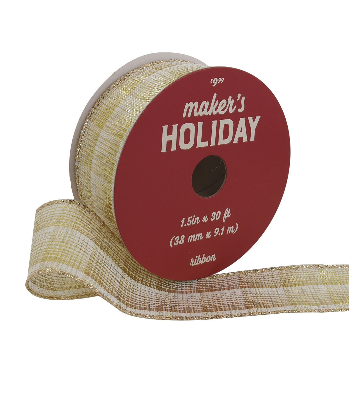 Maker\u0027s Holiday Christmas Metallic Ribbon 1.5\u0027\u0027x30\u0027-Gold & Ivory Plaid